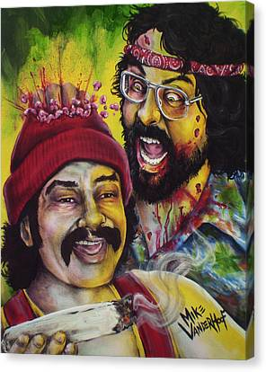 Zombie Cheech And Chong Canvas Print by Mike Vanderhoof