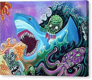 Zombie Handfishin Canvas Print by Laura Barbosa