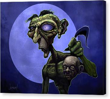 Zombie Head-hunter Canvas Print by Jephyr Art