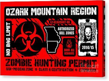 Zombie Hunting Permit Canvas Print