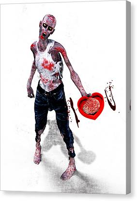 Zombie Love Canvas Print by Frederico Borges