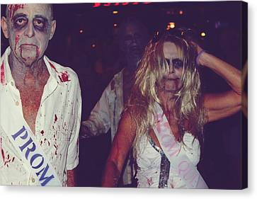 Creepy Canvas Print - Zombie Prom King And Queen by Laurie Search