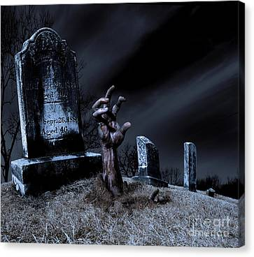 Zombie Rising From The Grave Canvas Print by Diane Diederich
