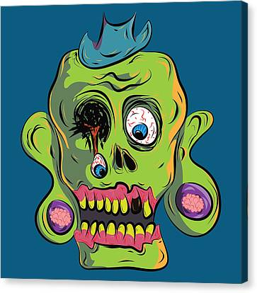 Zombie Skull Canvas Print by Jera Sky
