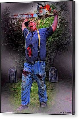 Zombie With Chainsaw  Canvas Print by Jon Volden