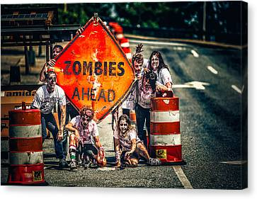 Canvas Print featuring the photograph Zombies Ahead by Joshua Minso