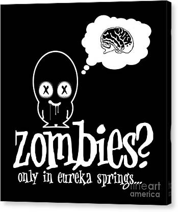 Zombies In Eureka Springs Black And White Canvas Print