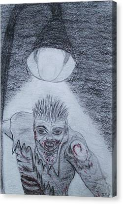 Canvas Print featuring the drawing Zombified by Thomasina Durkay