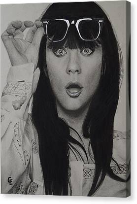 Zooey Deschanel Canvas Print by Chrissy Eckman