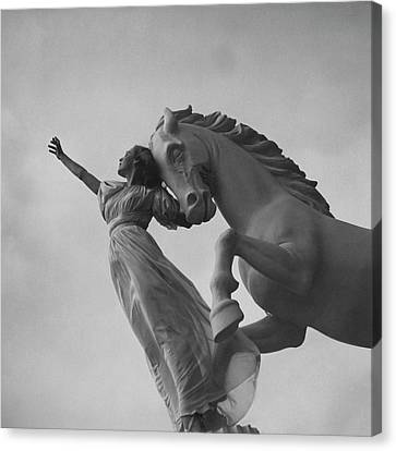 Ballerinas Canvas Print - Zorina With A Horse Statue by Toni Frissell