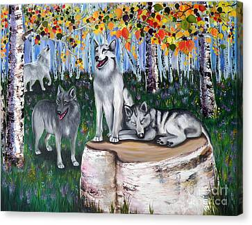 Zorros Wolves Amid The Aspens Canvas Print