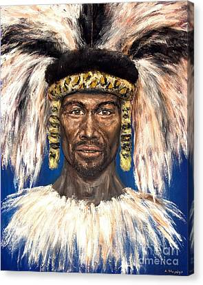 Canvas Print featuring the painting Zulu Warrior by Arturas Slapsys