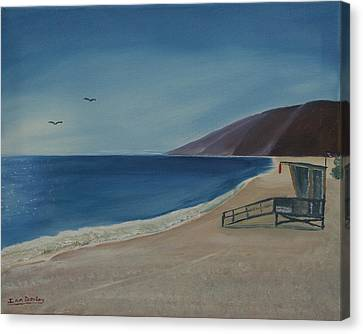 Canvas Print featuring the painting Zuma Lifeguard Tower by Ian Donley