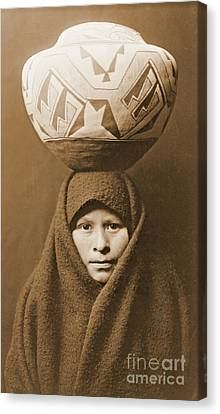 Zuni Girl With Jar Canvas Print by Padre Art