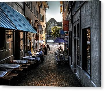 Canvas Print featuring the photograph Zurich Old Town Cafe by Jim Hill