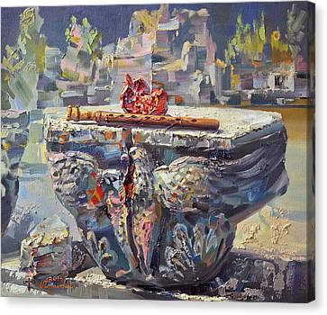 Subject Canvas Print - Zvartnots Eagle Duduk And Pomegranate by Meruzhan Khachatryan