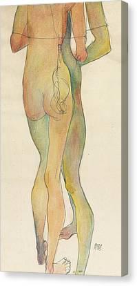 Zwei Stehende Akte Canvas Print by Egon Schiele