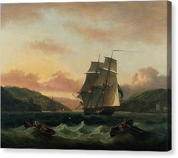A Brigantine In Full Sail In Dartmouth Harbour Canvas Print by Thomas Luny