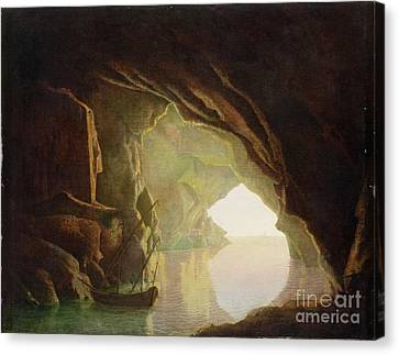 A Grotto In The Gulf Of Salerno - Sunset Canvas Print by Joseph Wright of Derby