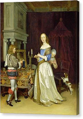 Dressing Room Canvas Print -  A Lady At Her Toilet by Gerard ter Borch