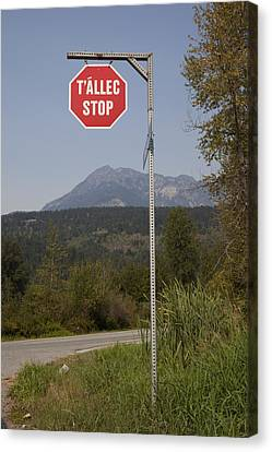 A Stop Sign In Ucwalmicwts Language Canvas Print