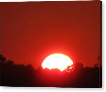 Canvas Print featuring the photograph  A Very Red Summer Sunset by Tina M Wenger