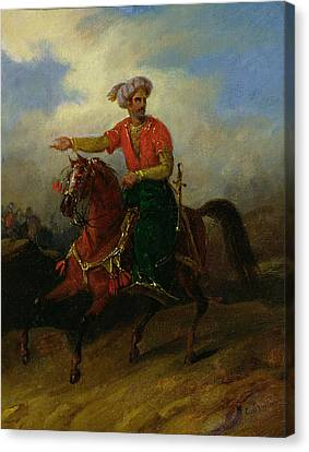 An Ottoman On Horseback  Canvas Print by Charles Bellier