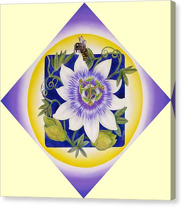 Bee And Passionflower Canvas Print by Marcia  Perry