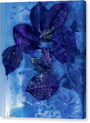 Blue Leaves In Memory  Canvas Print by Anne-Elizabeth Whiteway