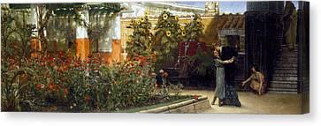 Corner Of A Roman Garden Canvas Print by Sir Lawrence Alma-Tadema