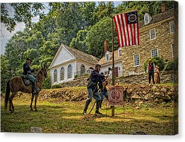 Cutting Down The Yankee Flag Pole Canvas Print by Boyd Alexander
