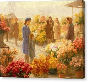 Flower Market  Canvas Print by Hendrik Heyligers