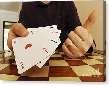 Four Aces In Hands Canvas Print by Sami Sarkis