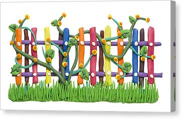 Fragment Of The Village Fence And Flowers Canvas Print