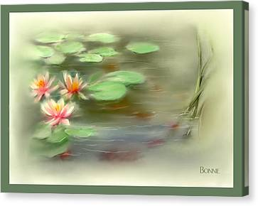 Canvas Print featuring the painting  Gold Fish Pond by Bonnie Willis