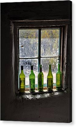 Green Bottles In Window Canvas Print