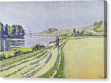 Signac Canvas Print -  Herblay La River  by Paul Signac