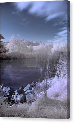Canvas Print featuring the photograph  Infrared Pond by Beverly Cash