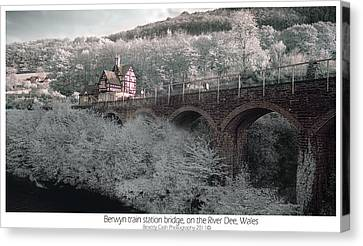 Canvas Print featuring the photograph  Infrared Train Station Bridge by Beverly Cash