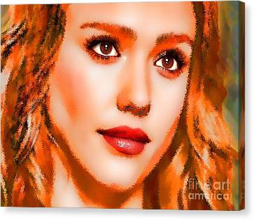 Jessica Alba Portrait A Canvas Print by Andre Drauflos