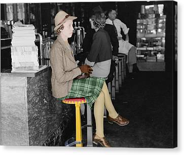 Lady In A Diner Canvas Print by Andrew Fare