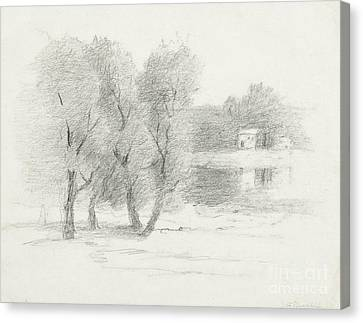 Buildings Canvas Print -  Landscape - Late 19th-early 20th Century by John Henry Twachtman