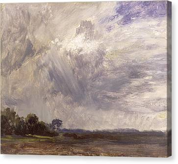 Landscape With Grey Windy Sky Canvas Print by John Constable