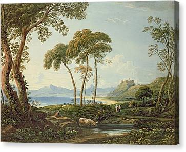 Landscape With Harlech Castle Canvas Print by John Varley