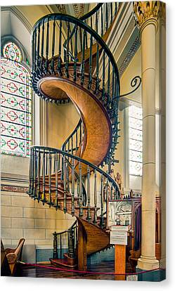 Canvas Print featuring the photograph  Loretto Chapel Staircase by Anna Rumiantseva