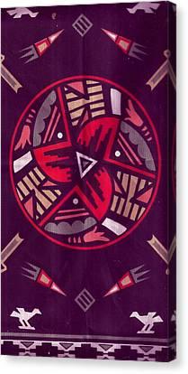 Native American Designs In The Round Canvas Print by Anne-Elizabeth Whiteway