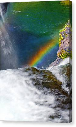 Rainbow By The Waterfall Canvas Print
