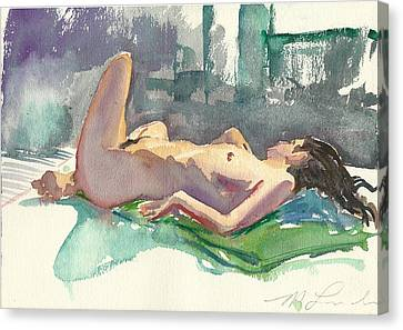 Reclining Nude Canvas Print by Mark Lunde