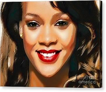Rihanna Portrait A Canvas Print by Andre Drauflos