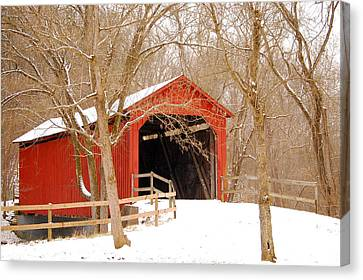 Canvas Print featuring the photograph  Sandy Creek Cover Bridge  by Peggy Franz